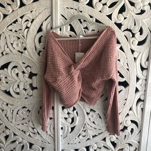 MISSGUIDED ROSE TWIST FRONT SWEATER